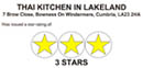 thai kitchen in lakeland - 3 stars food safety award