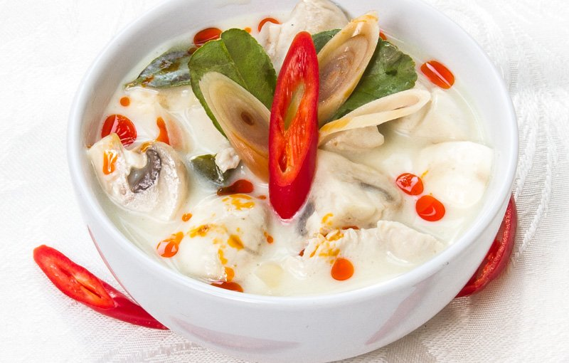 Tom Kha Gai ต้มยำ (dtôm-kàa-gài), mild and creamy coconut and chicken soup from Thailand