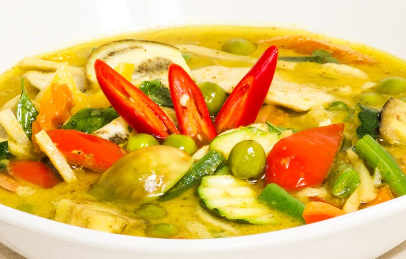Thai Green Curry แกงเขียวหวาน (Gaeng Keow Waan). It is hot, spicy, full of flavour, and deliciously cooked in coconut milk