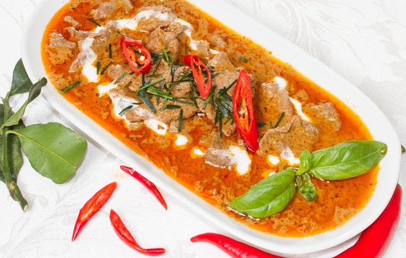 Panang Beef แกงแพนง (gaeng-panang). From southern Thailand comes this delicious dish of medium-spicy curry