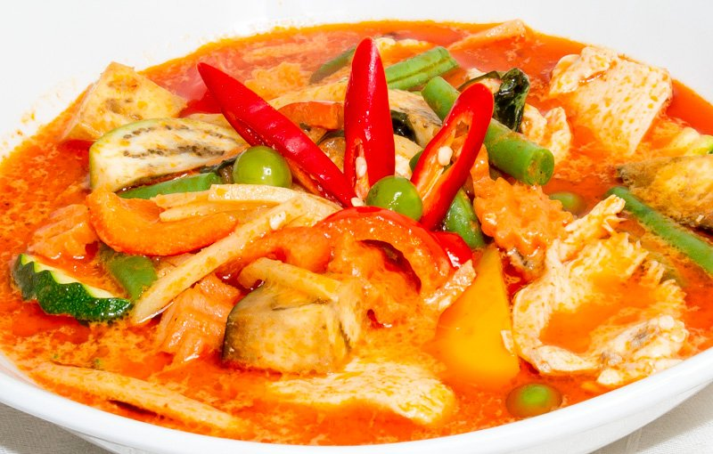 Thai Red Curry แกงเผ็ด (Gaeng Daeng). Red is the emotive colour of fire and hot red chillies
