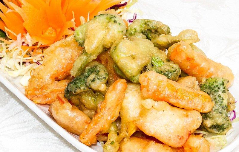 Vegetable Tempura ผักซุปเเปังทอด (pàk súp pang tôt) on the thai food menu for thai kitchen in lakeland