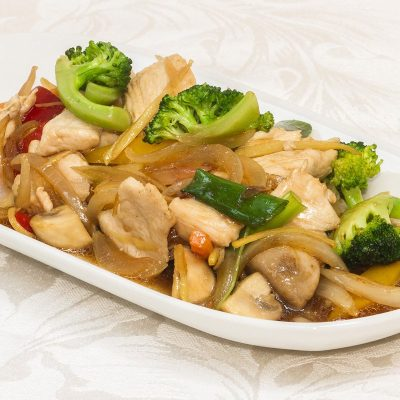 Pad Khing Gai, a Thai dish of beef with ginger and chillies