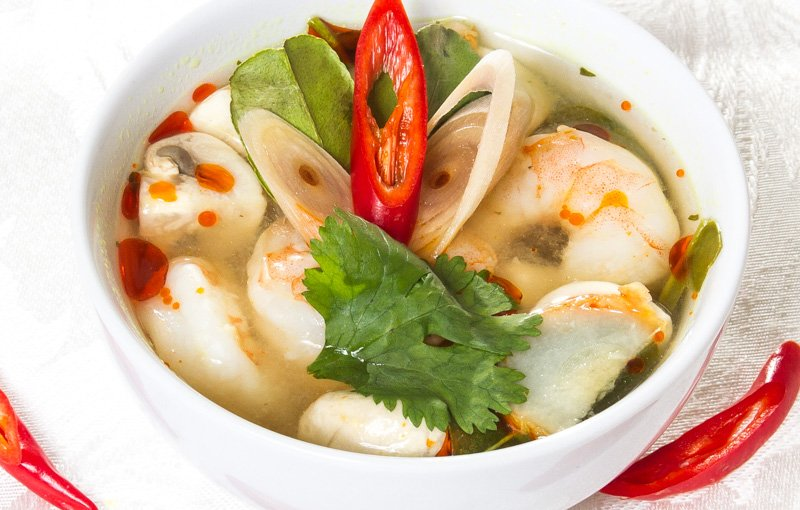 Tom Yum Soup ต้มยำ on the thai menu at our thai takeaway in Kendal