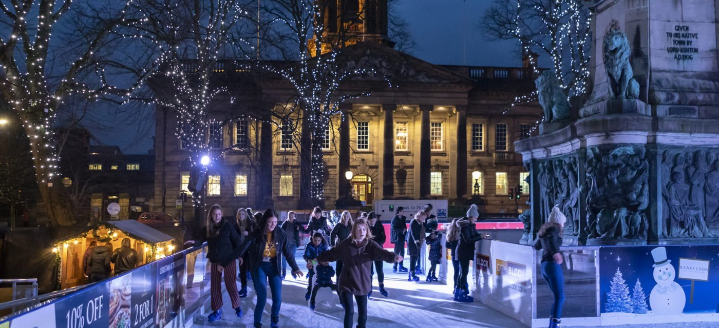 lancaster on ice street event in lancaster city centre