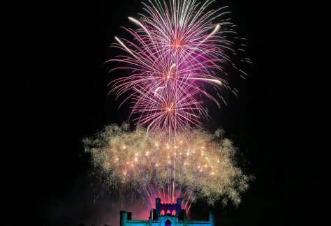 fireworks light up sky above lowther castle penrith