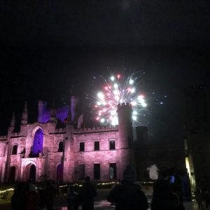 lowther firework night fireworks explode above lowther castle