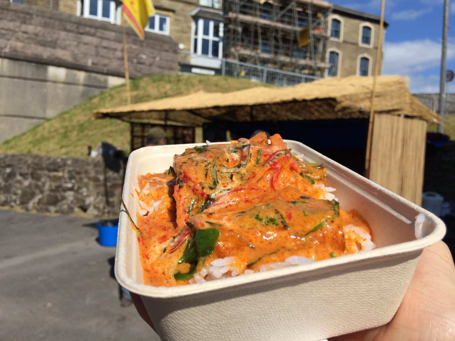 Thai street food in front of streetfood stall at The Snug, Carnforth