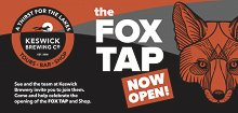 The Fox Tap logo at Keswick Brewery in Cumbria