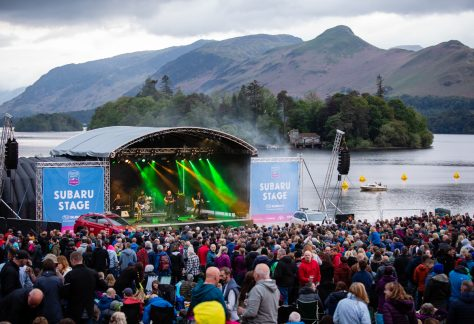 the music stage at the Keswick Mountain Festival in Keswick, Cumbria