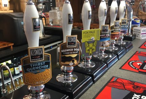 line up of bar pumps at The Fox Tap in Keswick, Cumbria