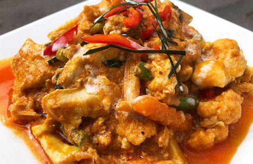 A dish of Hor Mok, Thai curry dish
