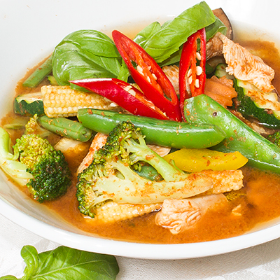 A bowl of jungle curry, hot and spicy