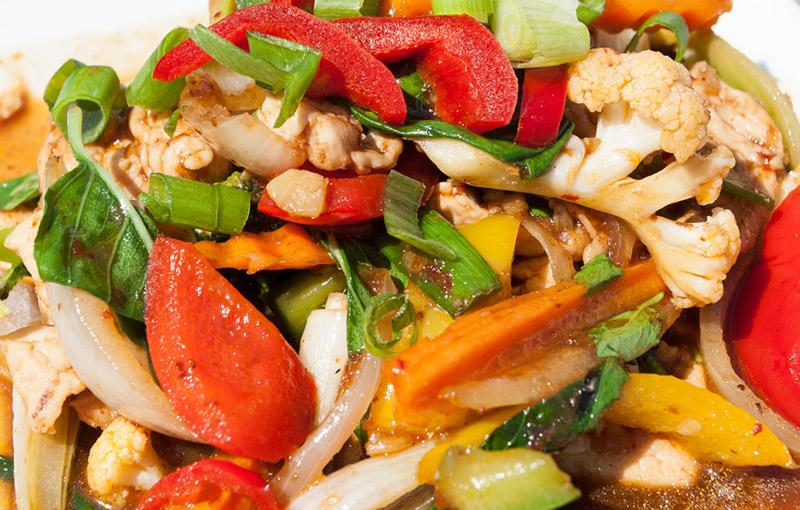 a dish of gai nam prik pao, a thai stiry, from our thai takeaway menu