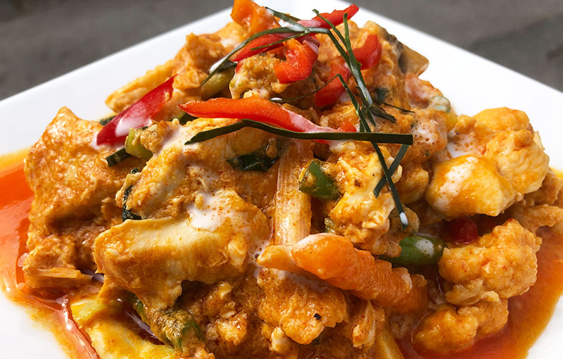 a plate of hor mok, thai curry from our thai takeaway menu