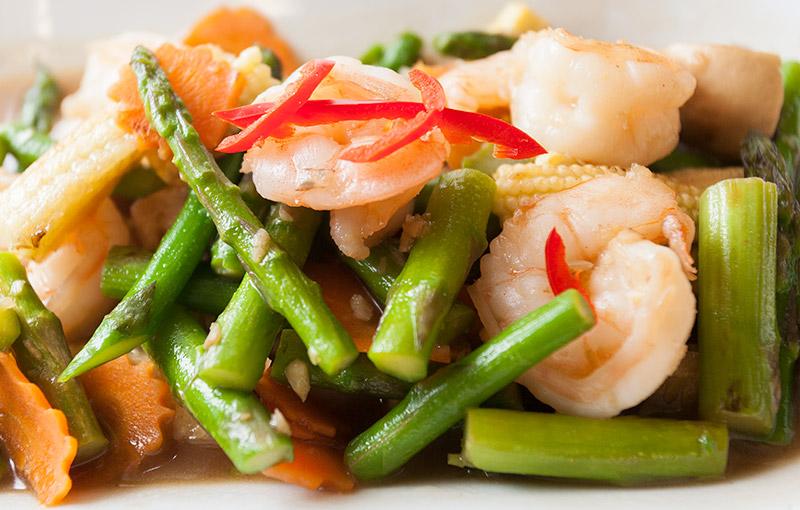 prawen and asparagus stir fry from thai kitchen in lakleand takeaway menu