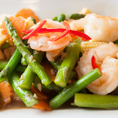 prawen and asparagus stir fry from thai kitchen in lakleand takeaway menu