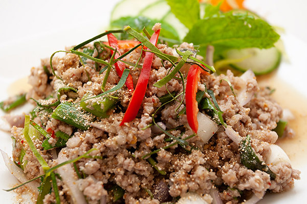 A plate of Laap, Thai tapas salad from Thai Kitchen in Kendal