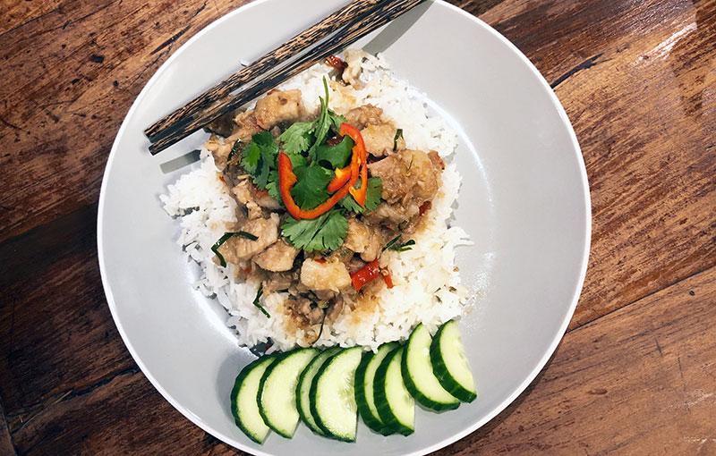 A Thai stir fry dish: moo sarm chan pad kapi (pork belly stir fried with shrimp paste
