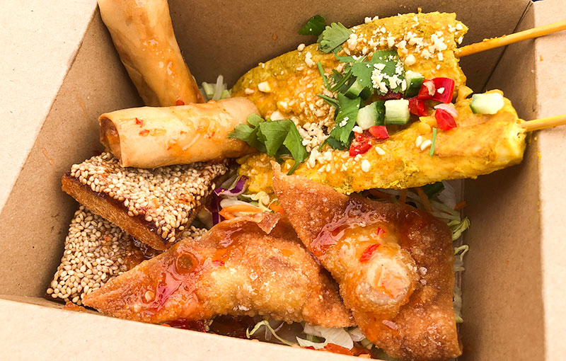 thai starters in a 'box to go' our popular street food combo in a box
