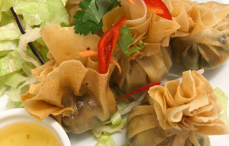 A selection of Tung Tong (money bags) wonton pastry with vegetable fillings on our Thai takeaway menu
