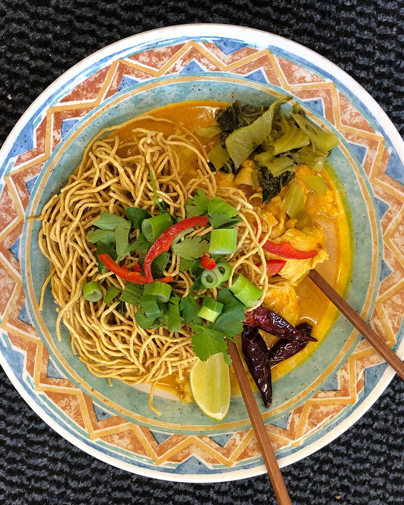 how to order a takeaway, a bowl of Khao Soi noodles from Thai Kitchen in Lakeland