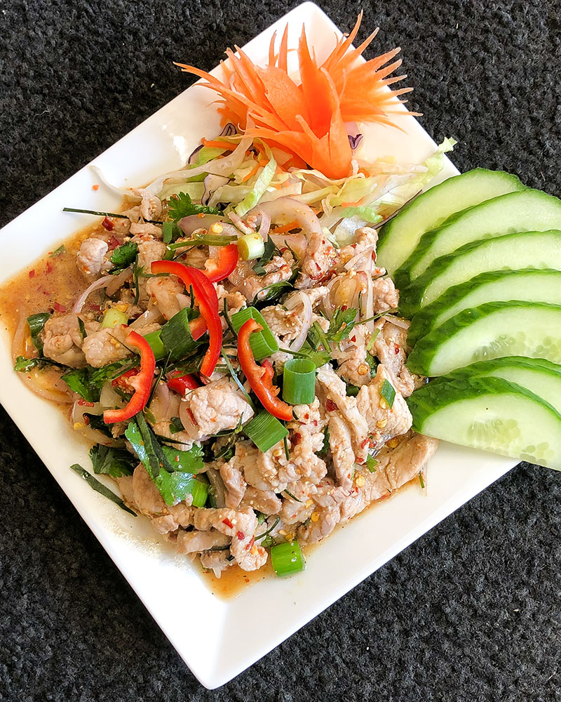 how to order a takeaway, a plate of Moo Nam Tok from Thai Kitchen in Lakeland
