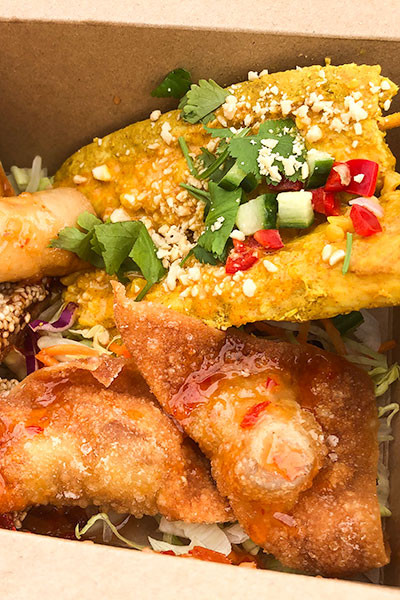 Box To Go our popular Thai streetfood, two of each starter in a box, satay, spring rolls, sesame toast, wonton, corn fritters