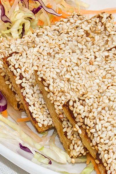 A plate of pork and sesame toast from our Thai takeaway menu