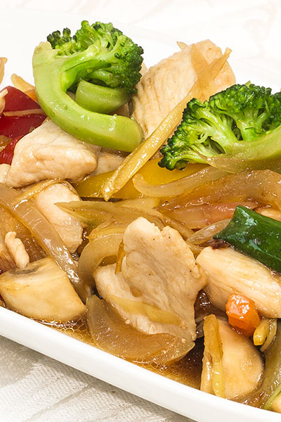 A plate of Pad Khing, lots of ginger and vegetables