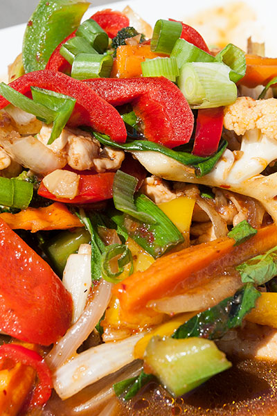 Nam Prik Pao, a dish of red curry stir fry with vegetables